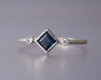 Square Kite Sapphire and Diamond Engagement Ring - 4mm White or Blue Sapphire with Accent Diamonds Solid 14k White or Yellow Gold