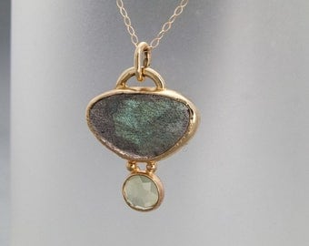 Rose Cut Labradorite, Prehnite and Gold Necklace - One of a Kind Gemstone Pendant in Solid Gold - Ready to Ship
