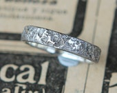 Silk Cloth Textile Hand Cast Sterling Silver Band Size 6