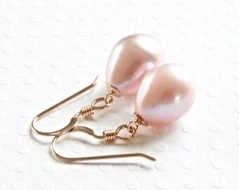 Pink Pearl Earrings, Freshwater Pearl Earrings, Pearl Drop Earrings, Gold Dangle Earrings, Gold Filled Jewelry, Freshwater Pearl Jewelry