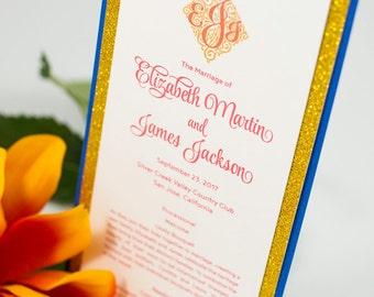 Small, Triple-Layered, Ceremony Program Card