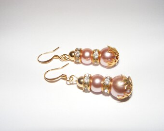 Fashion Jewelry Earings Gold Pink Glass Pearls Dangle Style-Ships Free