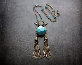Boho Turquoise Necklace Assemblage Vintage Rhinestone Antique Brass Curb Chain Tassel Crystal Rosary Chain Long Repurposed Festival Gypset
