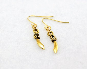 Gold Pirate Cutlass Earrings - Sword Earrings, Fantasy Earrings, Weapon Earrings, Pirate Earrings, Cosplay, Costume, Geek, Nerd, DnD