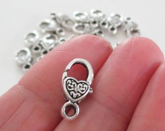 Silver Lobster Clasp - Heart Shaped Lobster Clasp - 17mmx9mm - Metal Jewelry Findings - Lock Clasp (10) Pcs - Diy Silver Supplies