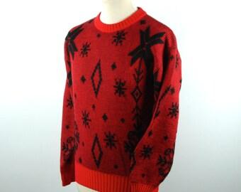 1970's Obermeyer Ski Sweater, Wool Blend Mod Sweater