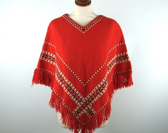 1960's Hand Woven Knit Poncho with Fringe and Incredible Detail! Made in France