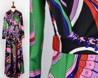 1970's Long Psychedelic Dress    Don Luis de Espana    Made in Spain