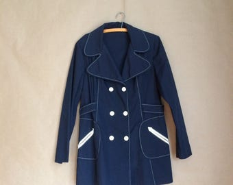 WEEKEND SALE! vintage 70's 1970's navy blue jacket / double breasted / detail stitching / patch pockets / 70's lapel / mod retro minimalist