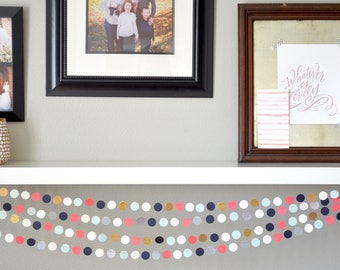 Navy, Mint, Coral, Cream, and Gold or Silver Confetti Circles Garland. Customize the length and size that is perfect for you!