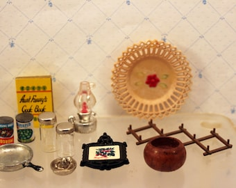 Lot Miniature Dollhouse Kitchen Accessories Cookbook Food Pan Bowl Cannisters + Destash