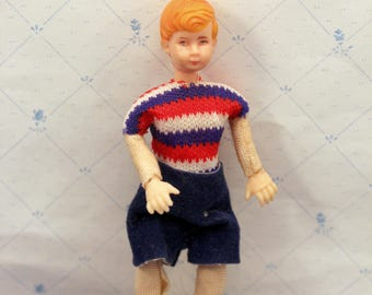 Dollhouse Boy Doll from Miniature Brown Family Bendable 1970s C