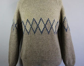 Mens Sweater. Pullover Sweater. Thick Wool Sweater. Oatmeal Brown Sweater. Winter Sweater. Vintage. Size Xl. GOGOVINTAGE