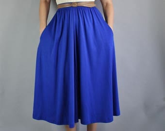 80s does 50s Royal Blue Full Skirt, Fit and Flare, Midi Skirt, Elastic Waist, Knit Skirt, vlv, Pinup, Audrey Hepburn, Summer, Size Medium