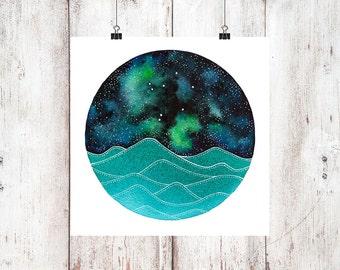 The Libra Constellation above the ocean waves watercolor print, Space Art, Galaxy Painting, Stars Print, Zodiac Print, Night Sky Print