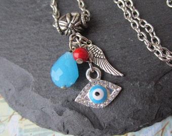 Evil Eye Necklace, Blue Evil Eye Pendant, Evil Eye Charm Necklace, Protection Jewelry, Handmade