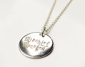 Mischief Managed Necklace . Harry Potter Necklace .  Sterling Silver . Tatum Bradley