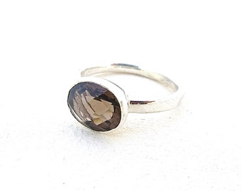 Smokey Quartz Ring, Classic Jewelry, Elegant silver ring, Handmade Rings, Statement Rings, Womens Rings, Silver Rings, brown ring, Boho