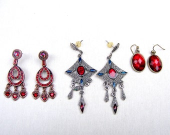 3 pair vintage red rhinestone earrings pierced dangle drop earrings tribal fusion belly dance post fitting (AAC)
