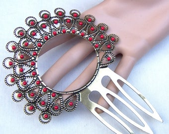 Vintage Spanish mantilla style hair comb gold tone metal hair accessory  decorative comb headdress headpiece