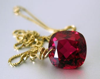 18k Red Topaz Necklace