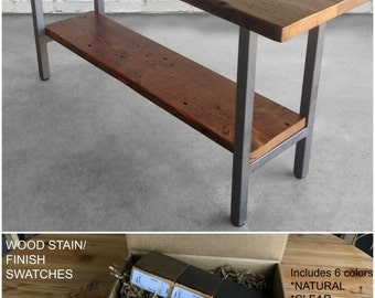 Urban Wood Goods table with shelf.  Buy a Finish/stain sample kit here to see them in person.  Custom orders turnaround 4-5 weeks.