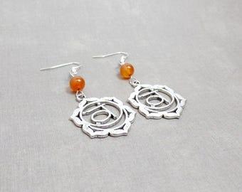 Sacral Chakra Earrings - Carnlian Earrings - Orange - Gemstone Earrings - Silver Chakra