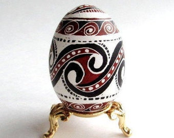 Anniversary or Father's day gift idea Neolithic Trypillian Pysanka chicken Egg decorated batik style Ukrainian Easter egg unique handmade
