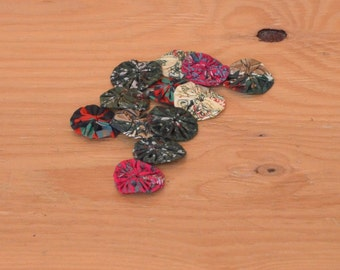 Lot Of Multi Colored Hand Made Cotton Rosettes Weddings DIY Fabric Flowers-Roses