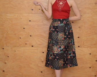 Vintage 70's A-line Skirt With Floral Patchwork Print On Black Background Size  S/M