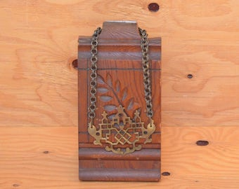 Amazing Bold Brass, Vintage Hardware Key Lock Necklace With Strong Dramatic Chain