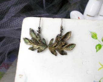 Altered Metal Earrings | Vintage Leaves | Curvy Gold Tone Botanical Drops | Distressed Retro Age Worn Spring Leaf | w Sterling Silver Wires