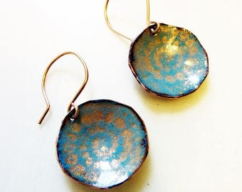 Glass Enamel on Copper Earrings, 14k Rose Gold Filled Ear Wires, Round Circle, Celestial Earrings