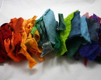 Fabric scraps, handmade wool felt,