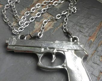 Heat - large, bold silver metalwork 9mm gun pendant charm & sealed link gunmetal chain necklace