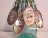 Mason Jar Spoon I Love Jars Vintage Hand Stamped Spoon , Jar Collector Gift, Mason Jar Decor