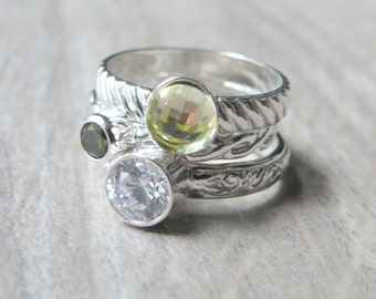 Mothers ring / Sterling silver stacking ring set / Sterling silver ring / cubic zirconia rings / faceted gemstone ring grandmother ring