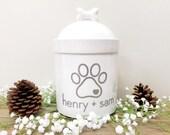 Dog Treat Jar Custom Dog Treat jar Personalized Dog Treat Jar Cat Treat Jar Pet Treats Customized Jar with Pet Names - Up to 3 Pet Names !