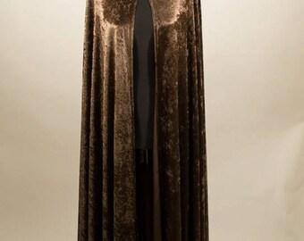 SALE, Velvet unisex Cloak fantasy medieval renaissance, chenille velvet, brown.