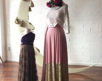 Sequin Sash Skirt No Train. Custom Choose fabrics! Dusty Rose and Gold Sequin Dipped Sash Skirt No Train- Custom choose Colors!