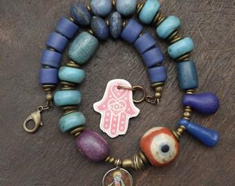 Krishna Blues - Blue Beads Statement Choker
