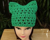 Earth Day Women's March for Science Pussy Cat Hat, Solid Green PussyHat Summer 100% Cotton Lightweight Crochet Knit, Ready to Ship in 2 Days