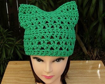 Climate Change March Pussy Cat Hat, Solid Green PussyHat Summer Spring 100% Cotton Lightweight Crochet Knit Beanie, Ready to Ship in 1 Day