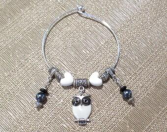 White Owl Bracelet, Black & White Bangle Bracelet, Pearl Dangles and Hearts, Hoot Owl Bangle, Owl Charm Bracelet, Engraved Silver Beading