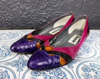 80s Pink Leather Wedges Heels with Alligator Skin Print 7