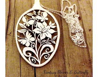 Hand cut out Statement Spoon pendant Fantasy Flower Butterfly Garden hand cut eco spoon pendant Boho long sterling chain floral cut spoon
