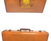 Vintage Samsonite Luggage Suitcase with Central Michigan Decal,  Retro Hard Shell, Vintage Brown Travel Bag, Collectible College Dorm Decor