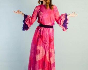 Vintage 1960's Chiffon Flounce Sleeve Dress