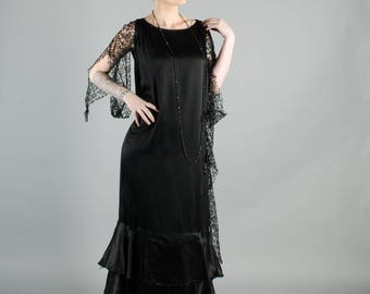 Vintage 1920's Lace and Silk Flapper Dress
