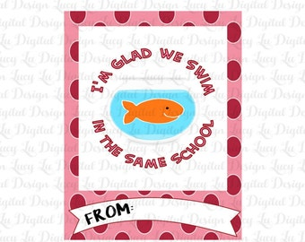 GOLDFISH Valentine Cards - Kids Valentine Cards- Valentine Cards- DIY PRINTABLE Valentine Cards